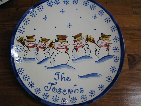 Cute Christmas Plate To Make At One Of Those Pottery