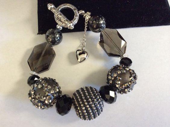 BLACK Smoky Topaz Deco Beads Gunmetal Silver by DESIGNBYMONNY, $15.00