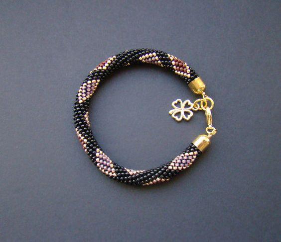 Black Gold Bracelet / Beaded Crochet Bracelet / Colored Bracelet / Crochet bead rope  / Geometric pattern/ Women gift