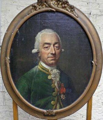 """Jean-Baptiste Cyprien de Laurétan, Comte d'Alembon dit """"Comte de Laurétan"""" (1742-1805), Seigneur de Bavinchove, de Cauchy et d'Alembon, Grand Bailli Héréditaire d'Audruicq, Chevalier des Ordres de Saint-Lazare et de Notre-Dame-du-Mont-Carmel, Chevalier de l'Ordre de Saint-Louis, officier au Régiment de Normandie."""