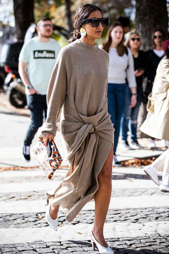 Love this neutral color tie front sweater dress - perfect minimal style outfit inspiration