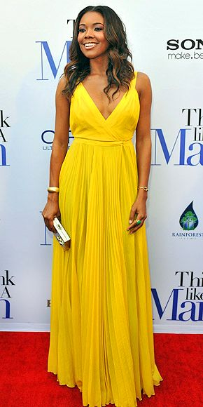 Gabrielle Union in a canary yellow Bill Blass gown, Judith Leiber clutch and Liv Haley, Giles & Brother and Caleo jewels at the premiere of Think Like a Man in Atlanta.