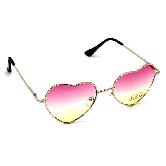 Novelty Metal Frame Sunglasses Women Girl Love Heart Shape Lens Eyeglasses Cool