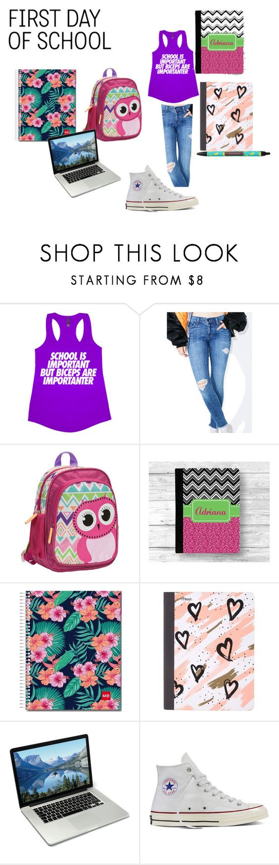 """First  day of  school 11"" by bunnysupergirl ❤ liked on Polyvore featuring Pistola, Rockland Luggage, Mead and Converse"