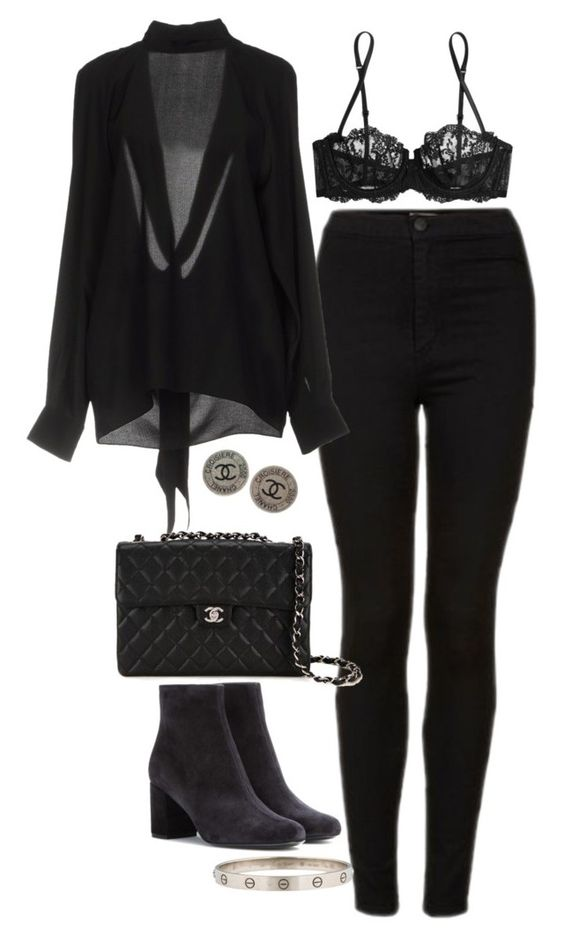 """Untitled #2773"" by hiitsbre ❤ liked on Polyvore featuring Topshop, La Perla, Maison Margiela, Chanel and Yves Saint Laurent"
