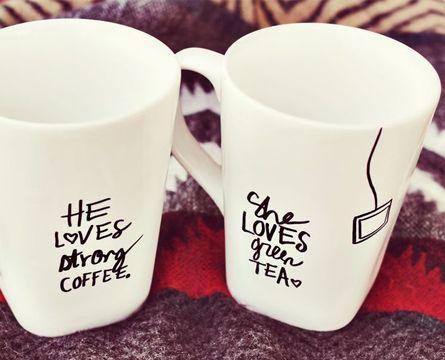 His + Her Sharpie Mug DIY - A Beautiful Mess