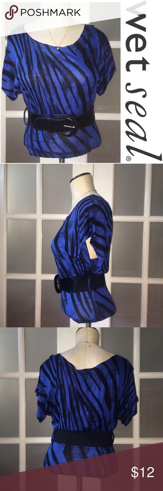 Wet seal blue and black top Wet Seal blue and black stripped top. Short sleeves. Comes with black belt! Wet Seal Tops