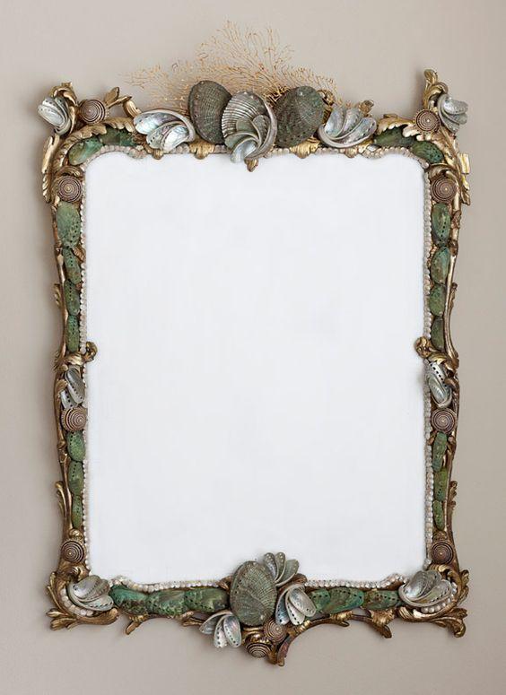 MARE VECCHIO, Marjorie Stafford Design: Design Marevecciomirror, Sea Shells, Seashell Mirror, Stafford Design, Marevecciomirror Shell, Mirror Design, Popular Gifts, Shell Mirrors