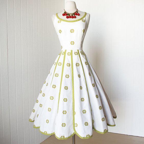 vintage 1950&-39-s dress ...pretty PAT PREMO california cotton ...