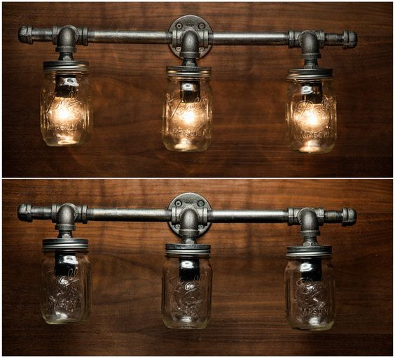 Mason Jar Light Fixture Industrial Light Light Rustic Light Vanity Light Wall Light