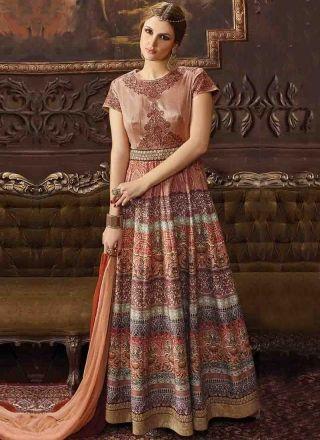 Peach Embroidery Work Silk Print Designer Long Fancy Anarkali Suit http://www.angelnx.com/Salwar-Kameez/Anarkali-Suits
