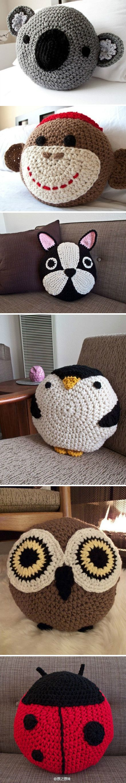 There are all so adorable, especially the owl (and the penguin). Too bad everything's in Chinese (or some such language). But, they don't look too hard to recreate as they all start with a large circle.: