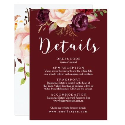 Floral Burgundy Background Wedding Details Card Burgundy