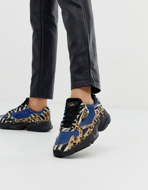 adidas Originals Falcon sneakers in contrast leopard prints