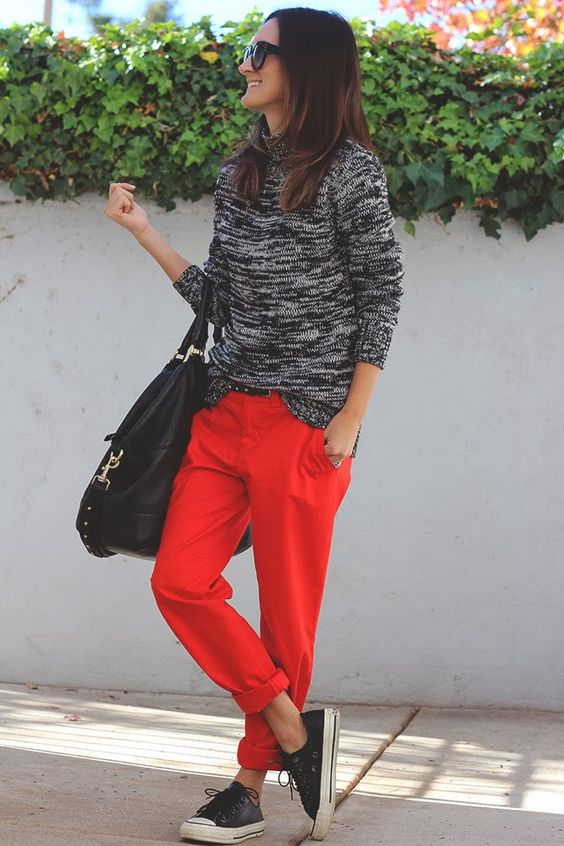 red pants and slouchy sweater: