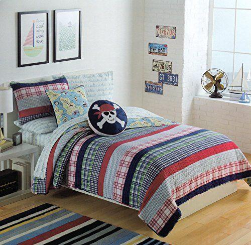 Toddler Bedding Cotton 2pc Twin Quilt Set Reversible Plaid Diggers. Boy Quilt Set Bedding