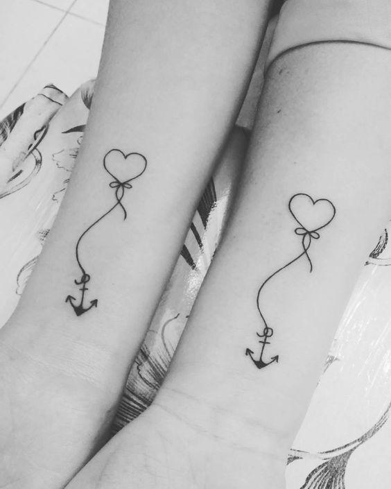 tatuagem de coração e âncora