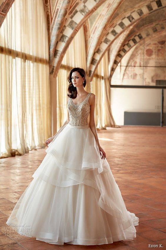 eddy k couture 2017 bridal sleeveless scoop neckline heavily embellished bodice tiered horsehair hem tulle skirt glamorous a line wedding dress low back sweep train (ct166) mv