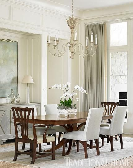 Elegant dining room by Phoebe Howard in a stone house in North Carolina. Beautiful Classically Refined Rooms on Hello Lovely Studio.