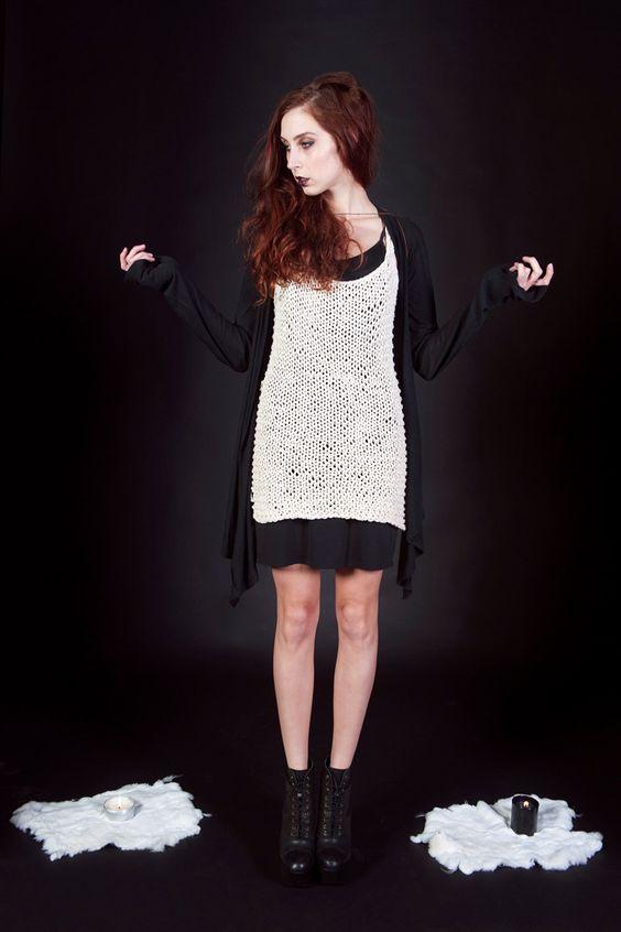 sorceress- hand knit tunic dress, made to order. $128.00, via Etsy.