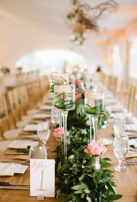 Fresh flower runners pink roses and centerpieces
