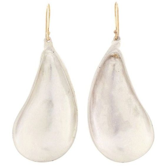 Annette Ferdinandsen Large Mussel Shell Earrings In Silver ($395) ❤ liked on Polyvore