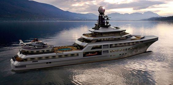 PJ World Yacht. While it may not be as cool looking as the futuristic Infinitas (#20), the Palmer Johnson World Yacht certainly makes up for it in other ways as it comes equipped with a gym, movie theater, spa, pool, and even death traps for pirates. Okay, maybe not death traps but it does have a super advanced security system.