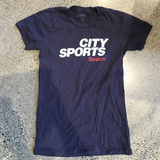 City Sports Boston T Shirt **Listed as lulu for exposure** Worn once women's size medium navy t-shirt. Super comfy and cotton poly blend. Limited edition since City Sports is now no longer! lululemon athletica Tops Tees - Short Sleeve