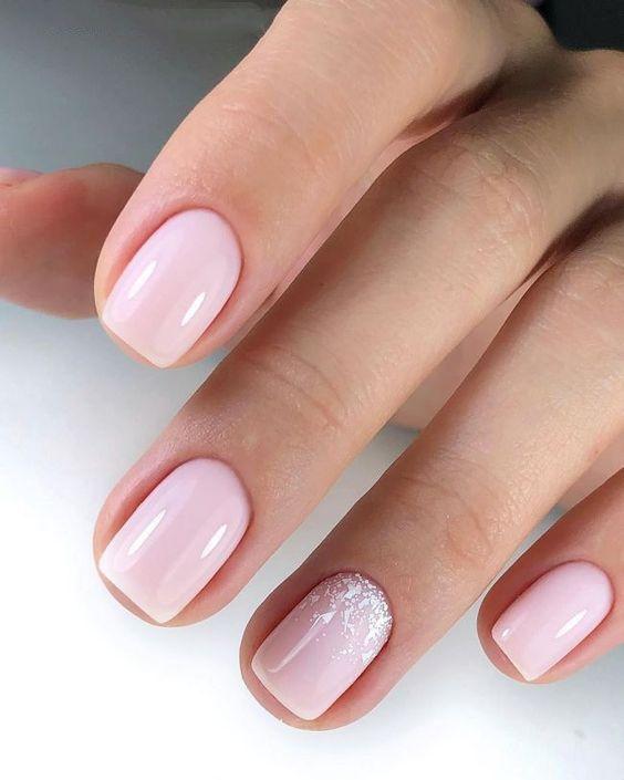 Nails Natural Nails Solid Color Nails Acrylic Nails Cute Nails Wedding Nails Sparkling Glitter Bridal Nails Simp Pink Manicure Pink Nails Trendy Nails