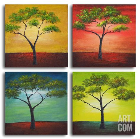 African trees in season Hand Painted Art at Art.com