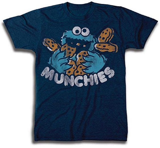 Sesame Street Cookie Monster Munchies Navy Blue T Shirt Sizes M L XL | eBay