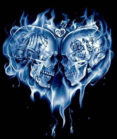 Skulls Heart Shape Flames Skulls Drawing Skull Artwork Skull Tattoo Design