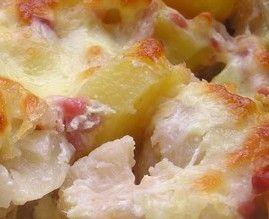 Gratin de chou-fleur (mettre 120g de jambon cru à la place des saucisses 5PP/part)