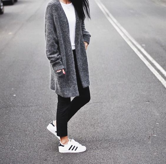 white tee shirt, black Jeans/leggings, grey cardigan, adidas shoes
