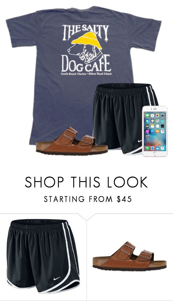 """Watching the HotDog Eating Championship"" by flroasburn ❤ liked on Polyvore featuring NIKE and Birkenstock"