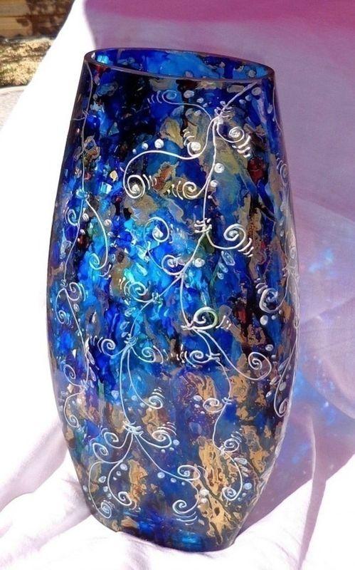 Vase Moderne Design Chic en Verre, bleu, peinture sur Verre - Mille ...