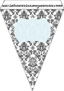 Cinza Branco e Azul - Mini Kit Completo com molduras para convites, rótulos para guloseimas, lembrancinhas e imagens!