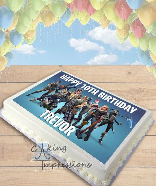"Fortnite Battle Royale Edible Wafer Circle 7.5/"" Cake Topper Birthday Image"