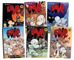 Bone graphic novels by Jeff Smith-these are soo good. I wish he would write even more!