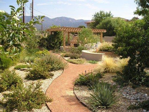 Backyard Xeriscape Garden Pergola Fireplace Red Twig Studio 8862