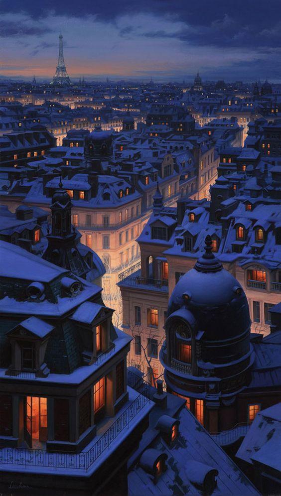 snowy rooftops of Paris