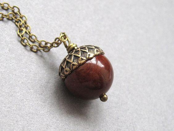Acorn necklace, mahogany jasper, gemstone pendant, nut brown, antique brass chain - oak tree, rustic woodland jewelry