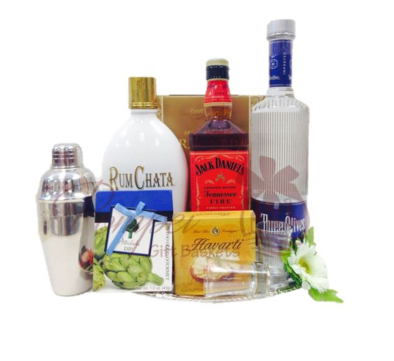 FREE STANDARD DELIVERY! Our American Classic Liquor Gift Basket contains Rum…