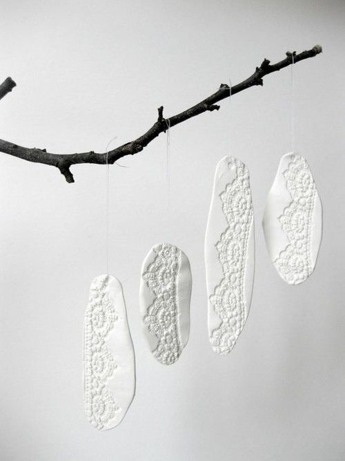 Homemade salt dough ornaments with lace stamping