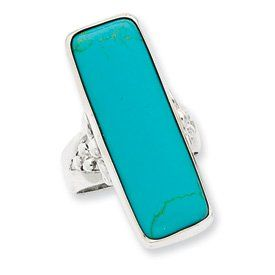 Genuine IceCarats Designer Jewelry Gift Sterling Silver Rectangle Turquoise Ring Size 7.00: Jewelry: Amazon.com