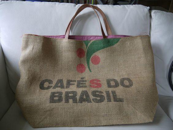 diy sac en toile de jute grand sac cabas ou sac de plage ou sac provision en sac caf. Black Bedroom Furniture Sets. Home Design Ideas