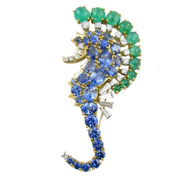 SEAMAN SCHEPPS Sapphire, Emerald & Diamond Sea Horse Brooch – from Camilla Dietz Bergeron