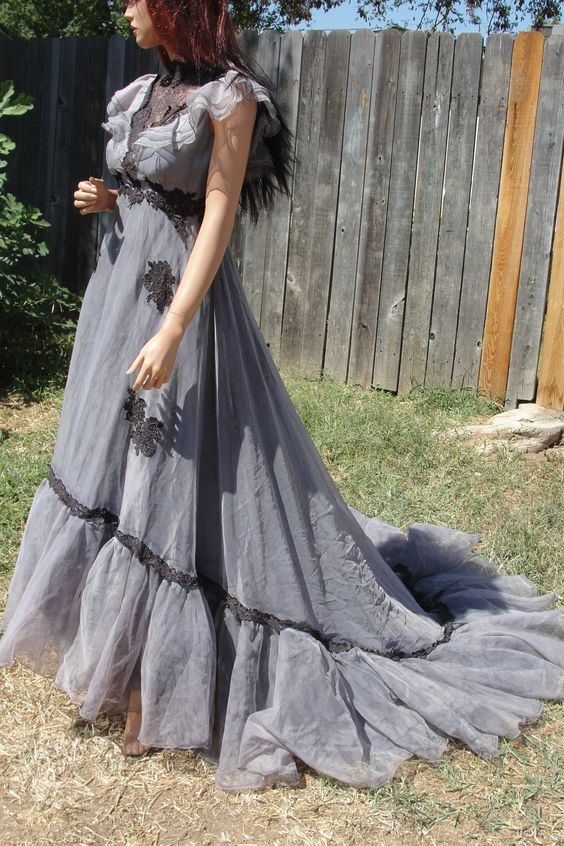 Black and grey gothic wedding gown with vail hand dyed for Corpse bride wedding dress for sale
