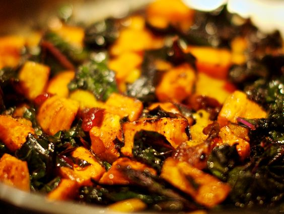 Roasted Sweet Potatoes and Kale: