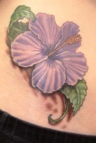 Hibiscus Tattoo   but pink instead of purple